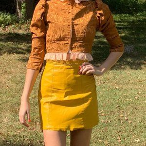 Real Leather Mustard Yellow High Waist Mini Skirt